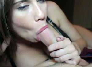 Ultra-cute gf gives sultry blowjob,..