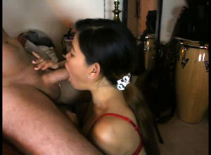 Chinese Girlfriend gargling man meat..