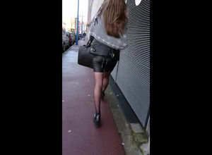Jism on leather microskirt when she..