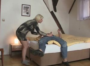 Blond Cougar tempts son-in-law into..