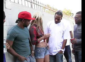 Blond Hailey Holiday gets gang-fucked..