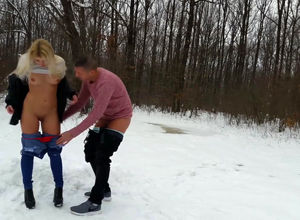 Slim light-haired gf plowed outdoors..